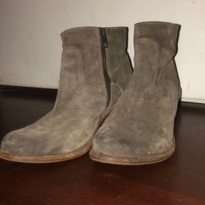 All Saints suede hunter green ankle boots